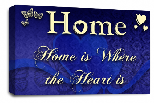 Home Quote Wall Art Picture Cream Blue Love Print